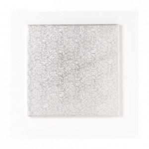 Semelle épaisse à gâteau PastKolor argentée carrée 25 x 25 cm