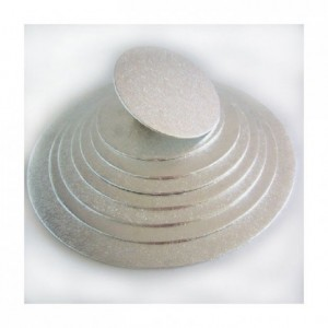 Semelle fine à gâteau PastKolor argentée ronde Ø27,5 cm