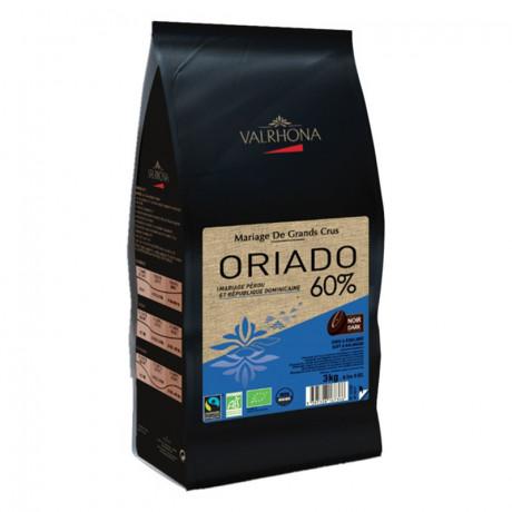 Oriado 60% chocolat noir de couverture bio Mariage de Grands Crus fèves 3 kg