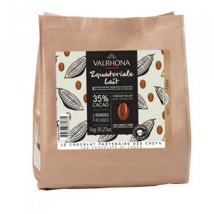 Equatoriale Lactée 35% chocolat au lait de couverture Signature Professionnelle fèves 1 kg
