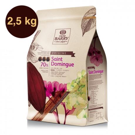 Saint Domingue 70% Origine chocolat noir de couverture pistoles 2,5 kg