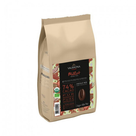 Millot 74% organic and fair trade dark chocolate Single Origin Grand Cru Madagascar beans 3 kg