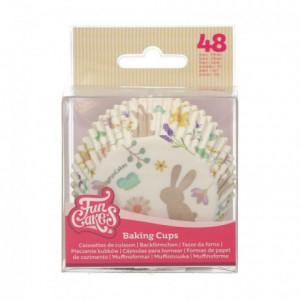 Caissettes à cupcakes FunCakes animaux printaniers 48 pièces