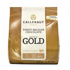 Gold 30,4% white chocolate couverture with caramel 400 g