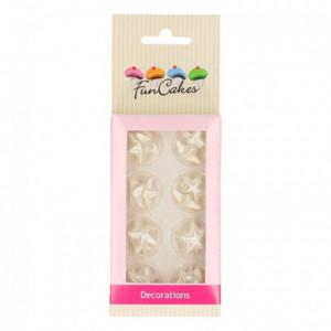 Décoration en pâte à sucre FunCakes étoiles argentées 24 pièces