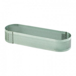 Perforated stainless steel oblong 12 x 3.5 cm H 2 cm - MF