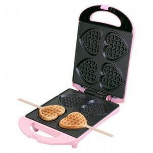 Bestron Sweet Dreams - Heart Waffle Maker - Pink