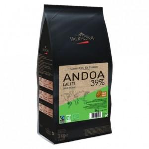 Andoa Lactée 39% chocolat au lait de couverture bio pur Pérou fèves 3 kg