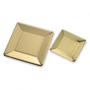 Assiette carton doré carrée (lot de 250) PM
