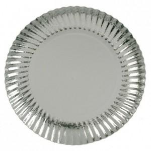 Assiette carton métallisé argent ronde Ø 184 mm (lot de 50)