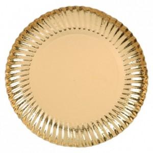 Gold round cardboard plate, metallic effect Ø 180 mm 50 pcs
