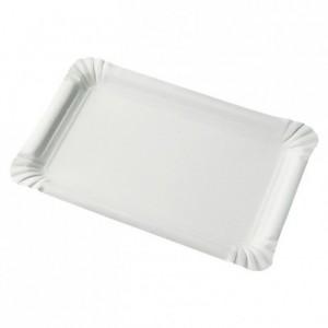 Assiette cartonnée rectangulaire blanche 130 x 200 mm (lot de 1500)