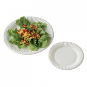 Assiette cartonnée ronde blanche Ø 230 mm (lot de 500)