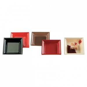 Assiette fantaisie Square rouge en PS 217 x 217 mm (lot de 180)