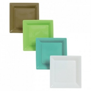 Assiette fantaisie Square turquoise en PS 167 x 167 mm (lot de 240) PM