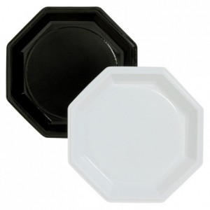 Assiette Octogonale noire en PS Ø 245 mm (lot de 400)
