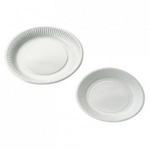 Assiette plastifiée ronde blanche Ø 180 mm (lot de 100)
