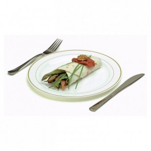 Assiette ronde blanche liseré or très rigide Ø 190 mm (lot de 200)