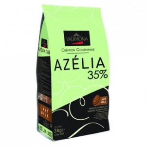Azélia 35% chocolat lait noisette de couverture Création Gourmande fèves 3 kg