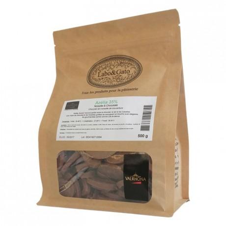 Azélia 35% chocolat lait noisette de couverture Création Gourmande fèves 500 g