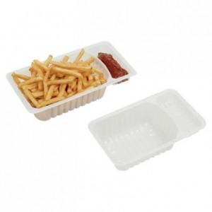 Barquette à frites 75 cL avec compartiment sauce (lot de 500)