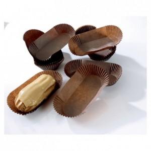 Barquette ovale plissée coloris brun n° 88 L 105 mm (lot de 1000)