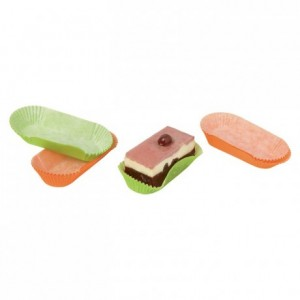 Coloured oval pastry case mandarin n°88 L 105 mm (1000 pcs)