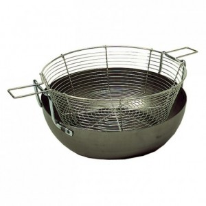 Deep frying basin with basket black steel Ø 450 mm