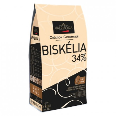 Biskélia 34% chocolat au lait de couverture Création Gourmande fèves 3 kg