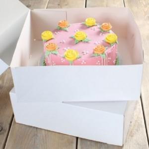 Boîte à gâteau FunCakes blanche 32x32x11,5 cm 2 pièces