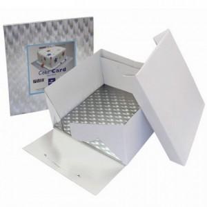 Boîte à gâteau PME carré 20 cm + support épais carré