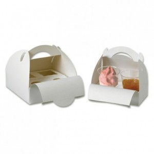 Box with handles for verrines 4 spaces 180 x 180 mm (50 pcs)