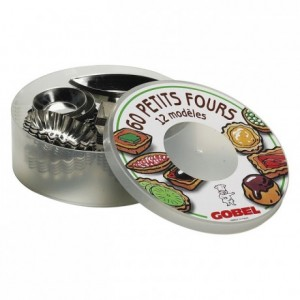 Petits-fours moulds box set 60 pcs 12 assorted models tin