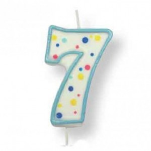 PME Large Candle Blue Number 7