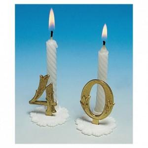Gold birthday candle 3 (10 pcs)