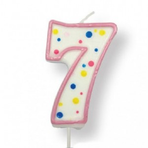 PME Large Candle Pink Number 7