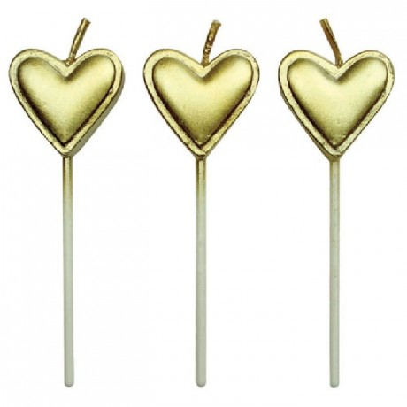 Bougies Gold Hearts PME 8 pièces