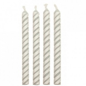 Bougies PME blanc rayé (lot de 24)