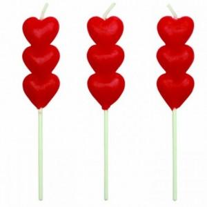 Bougies PME cœurs rouges (lot de 8)