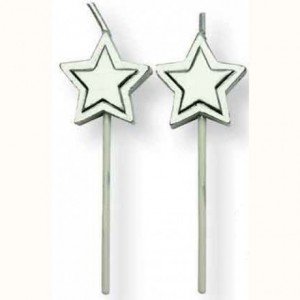 Bougies PME étoiles argent (lot de 8)