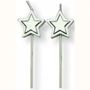 PME Candles Silver Stars pk/8