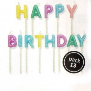 Bougies PME Happy Birthday pastel (lot de 13)