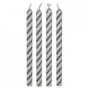 Bougies Striped Blue PME 24 pièces