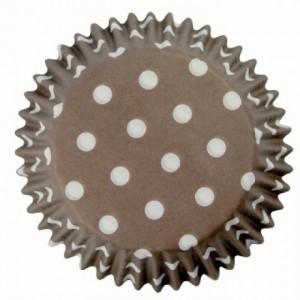 Caissettes à cupcakes PME Polka Dots Brown 60 pièces
