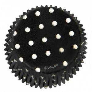 Wilton Baking cups Dots Black pk/75