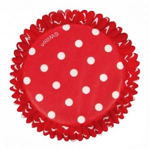 Wilton Baking cups Dots Red pk/75