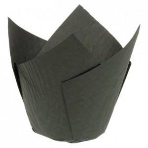 Caissette Tulipcup papier noir Ø 50 x 80 mm (lot de 200)
