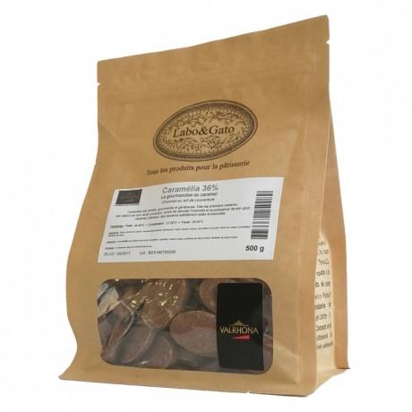 Caramélia 36% chocolat au lait de couverture Création Gourmande fèves 500 g