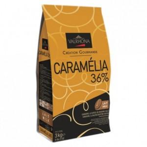 Caramélia 36% chocolat au lait de couverture Création Gourmande fèves 3 kg