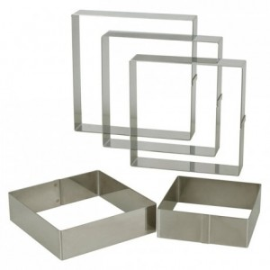 Entremets frame stainless steel 225 x 225 x 35 mm